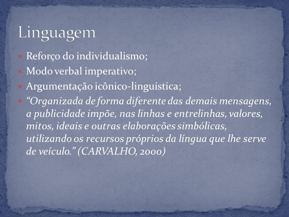 Reforço do individualismo; Modo verbal imperativo; Argumentação icônico-linguística; Organizada de forma diferente das demais mensagens, a publicidade