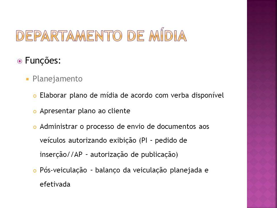 Funções: Planejamento Elaborar plano de mídia de acordo com verba disponível Apresentar plano ao cliente Administrar o processo de envio de documentos