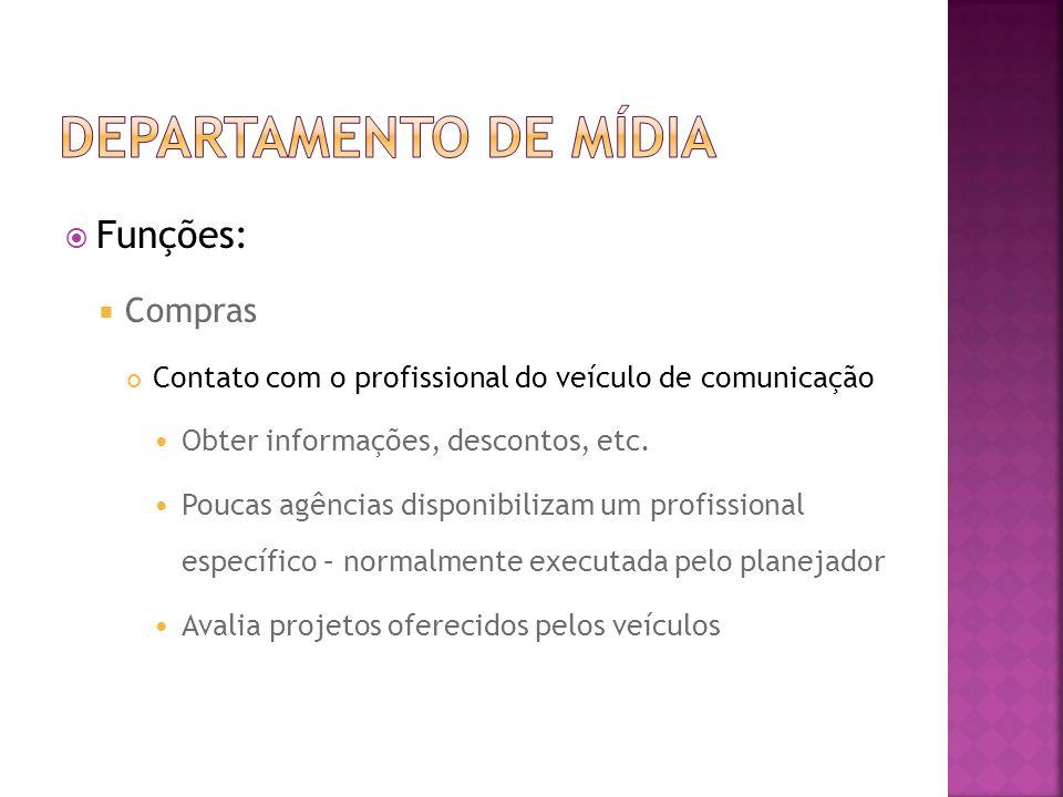 Funções: Compras Contato com o profissional do veículo de comunicação Obter informações, descontos, etc. Poucas agências disponibilizam um profissiona