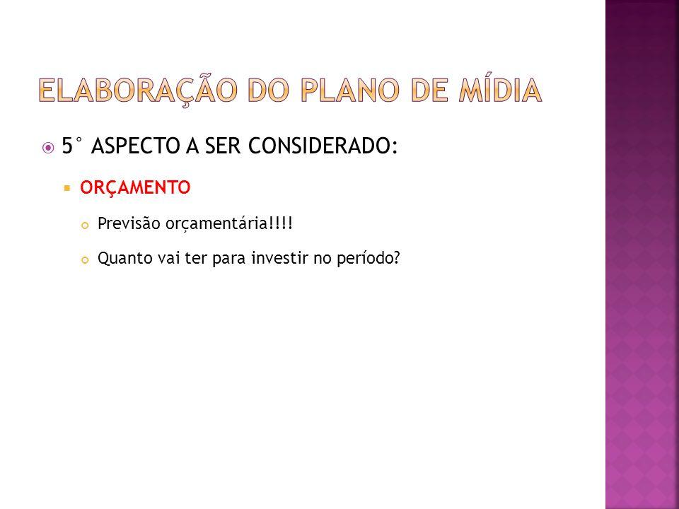 5° ASPECTO A SER CONSIDERADO: ORÇAMENTO Previsão orçamentária!!!! Quanto vai ter para investir no período?