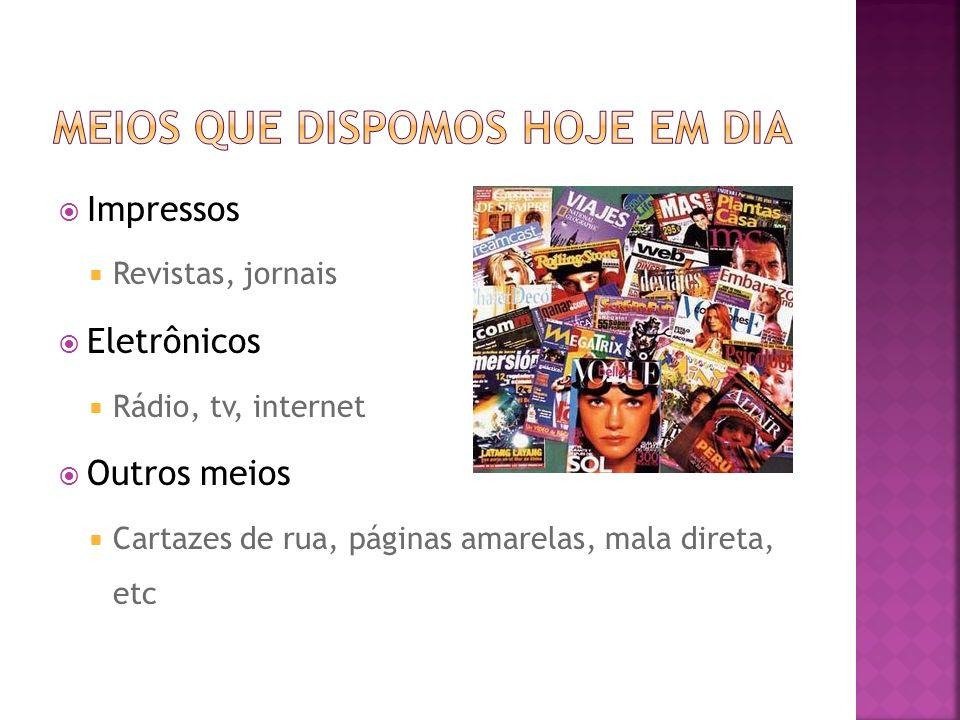 Impressos Revistas, jornais Eletrônicos Rádio, tv, internet Outros meios Cartazes de rua, páginas amarelas, mala direta, etc