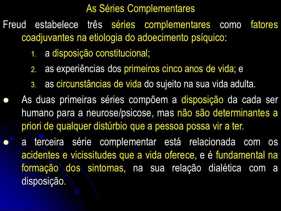 As Séries Complementares Freud estabelece três séries complementares como fatores coadjuvantes na etiologia do adoecimento psíquico: 1.