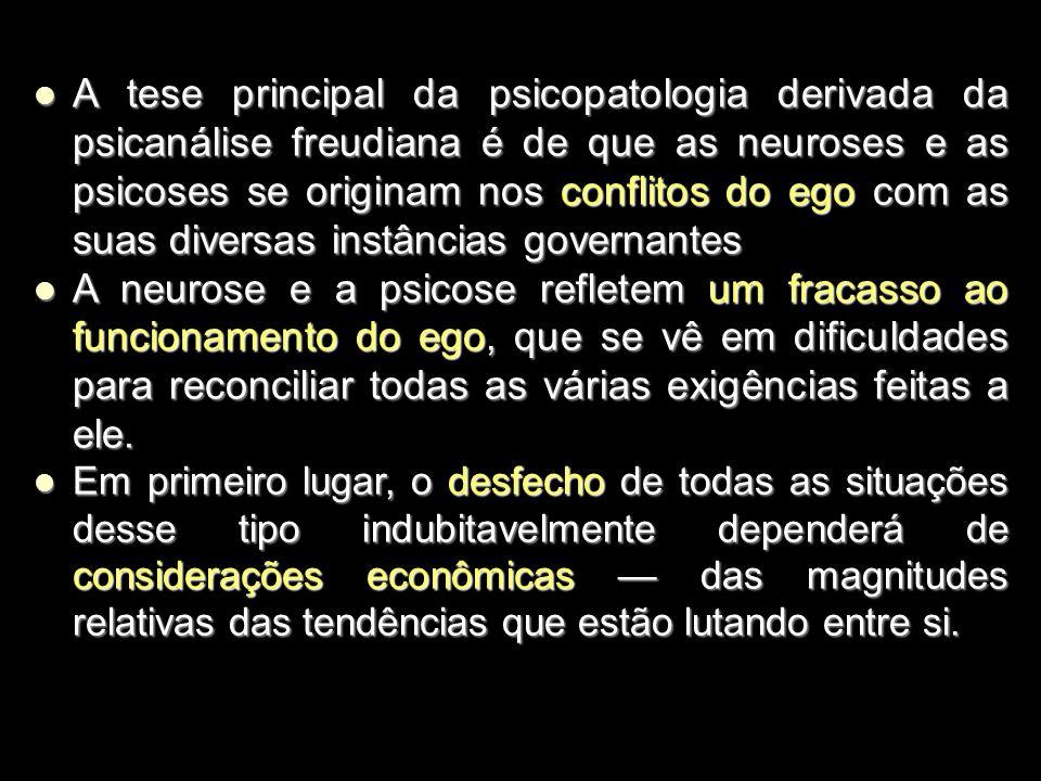 A tese principal da psicopatologia derivada da psicanálise freudiana é de que as neuroses e as psicoses se originam nos conflitos do ego com as suas diversas instâncias governantes A tese principal da psicopatologia derivada da psicanálise freudiana é de que as neuroses e as psicoses se originam nos conflitos do ego com as suas diversas instâncias governantes A neurose e a psicose refletem um fracasso ao funcionamento do ego, que se vê em dificuldades para reconciliar todas as várias exigências feitas a ele.