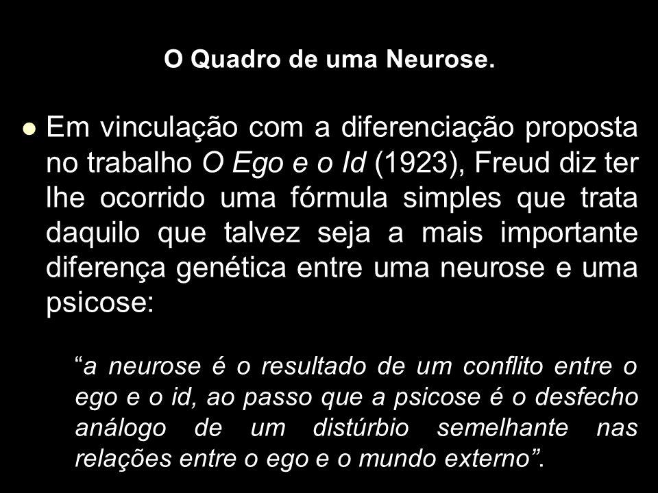 O Quadro de uma Neurose. Em vinculação com a diferenciação proposta no trabalho O Ego e o Id (1923), Freud diz ter lhe ocorrido uma fórmula simples qu