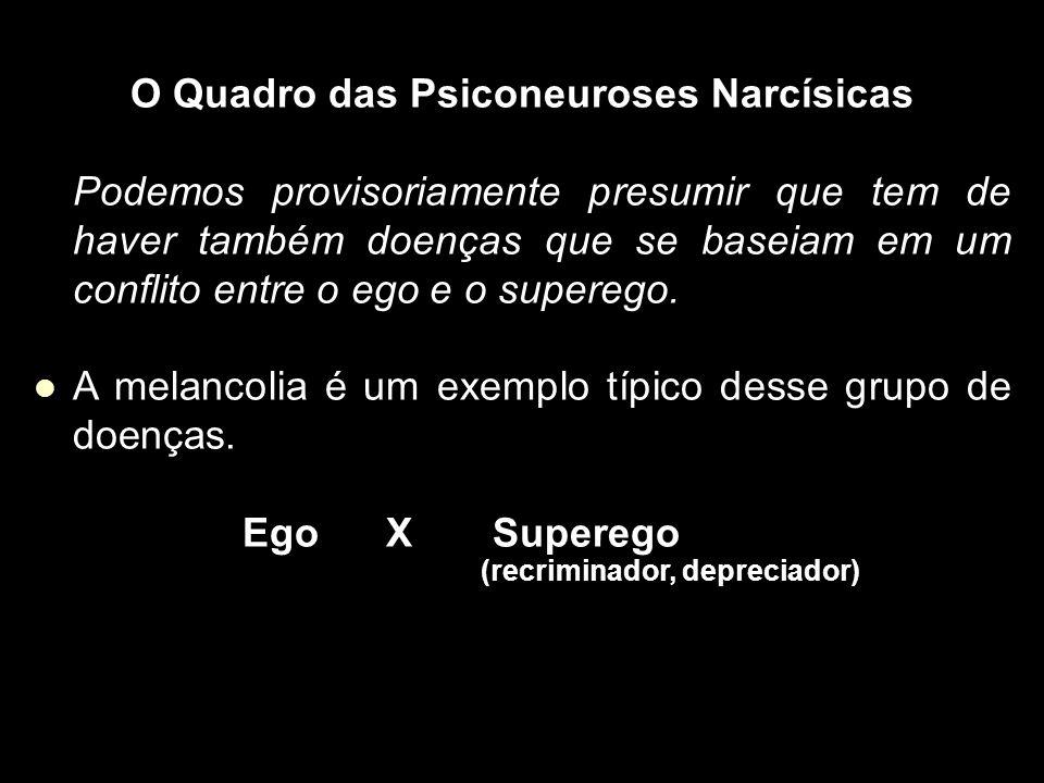 O Quadro das Psiconeuroses Narcísicas Podemos provisoriamente presumir que tem de haver também doenças que se baseiam em um conflito entre o ego e o superego.