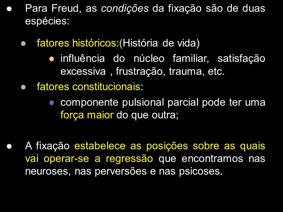 Para Freud, as condições da fixação são de duas espécies: fatores históricos:(História de vida) influência do núcleo familiar, satisfação excessiva, frustração, trauma, etc.