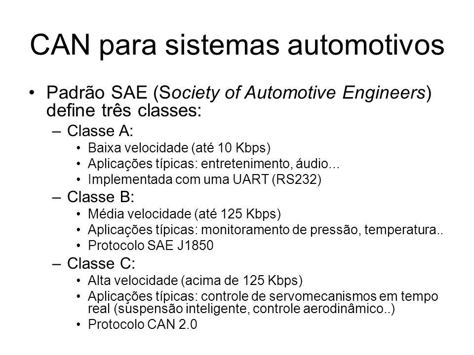 CAN para sistemas automotivos Padrão SAE (Society of Automotive Engineers) define três classes: –Classe A: Baixa velocidade (até 10 Kbps) Aplicações t