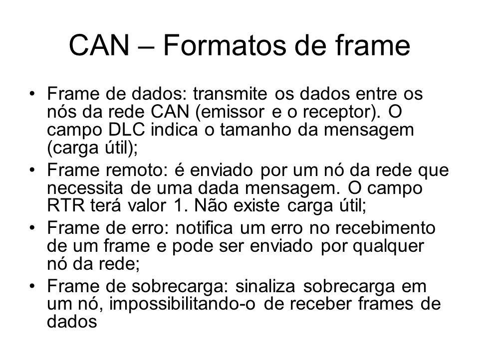 Frame de dados: transmite os dados entre os nós da rede CAN (emissor e o receptor). O campo DLC indica o tamanho da mensagem (carga útil); Frame remot