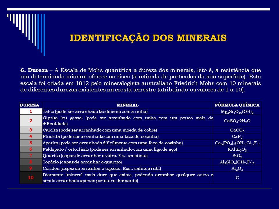 IDENTIFICAÇÃO DOS MINERAIS 6. Dureza – A Escala de Mohs quantifica a dureza dos minerais, isto é, a resistência que um determinado mineral oferece ao