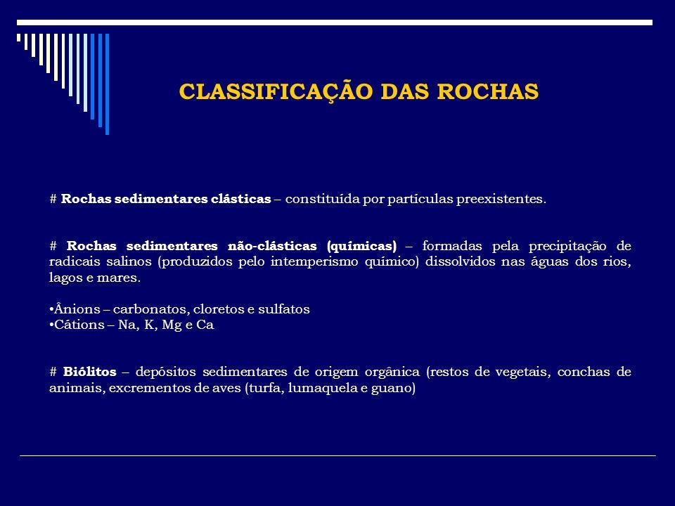 CLASSIFICAÇÃO DAS ROCHAS # Rochas sedimentares clásticas – constituída por partículas preexistentes. # Rochas sedimentares não-clásticas (químicas) –