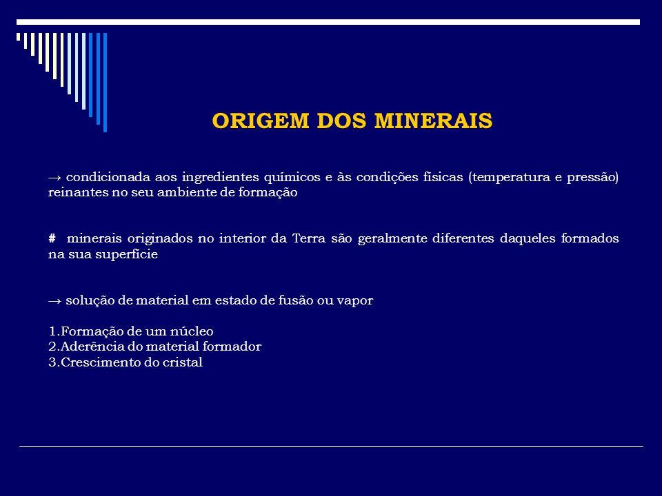 ORIGEM DOS MINERAIS condicionada aos ingredientes químicos e às condições físicas (temperatura e pressão) reinantes no seu ambiente de formação # mine