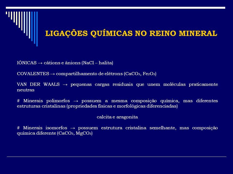CLASSIFICAÇÃO DOS MINERAIS # Sistema de cristalização minerais monoclínicos, cúbicos, etc.