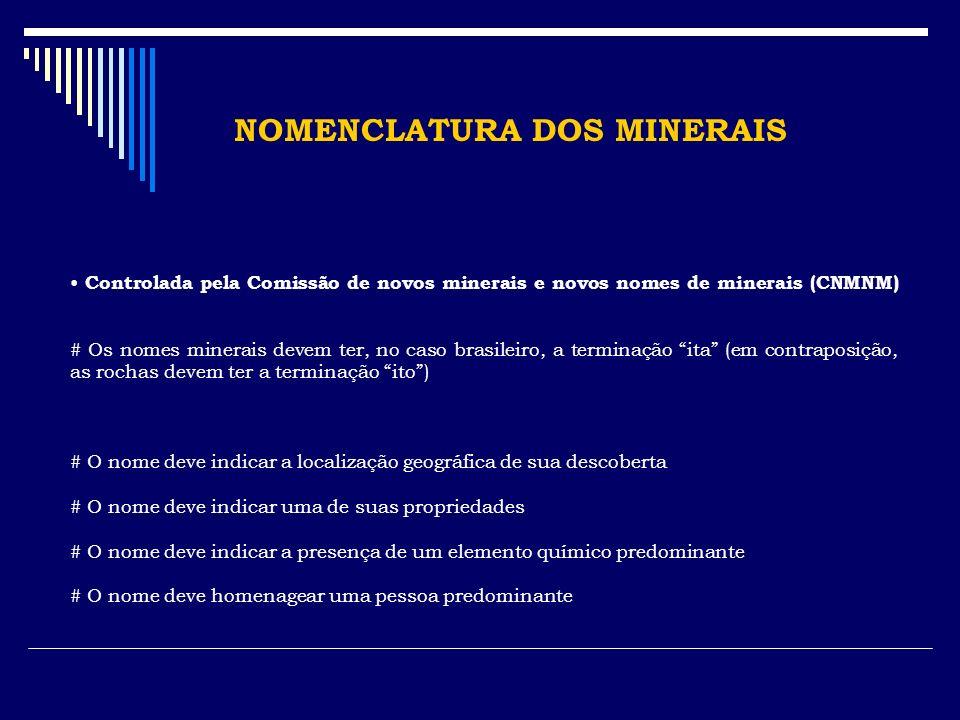 NOMENCLATURA DOS MINERAIS Controlada pela Comissão de novos minerais e novos nomes de minerais (CNMNM) # Os nomes minerais devem ter, no caso brasilei