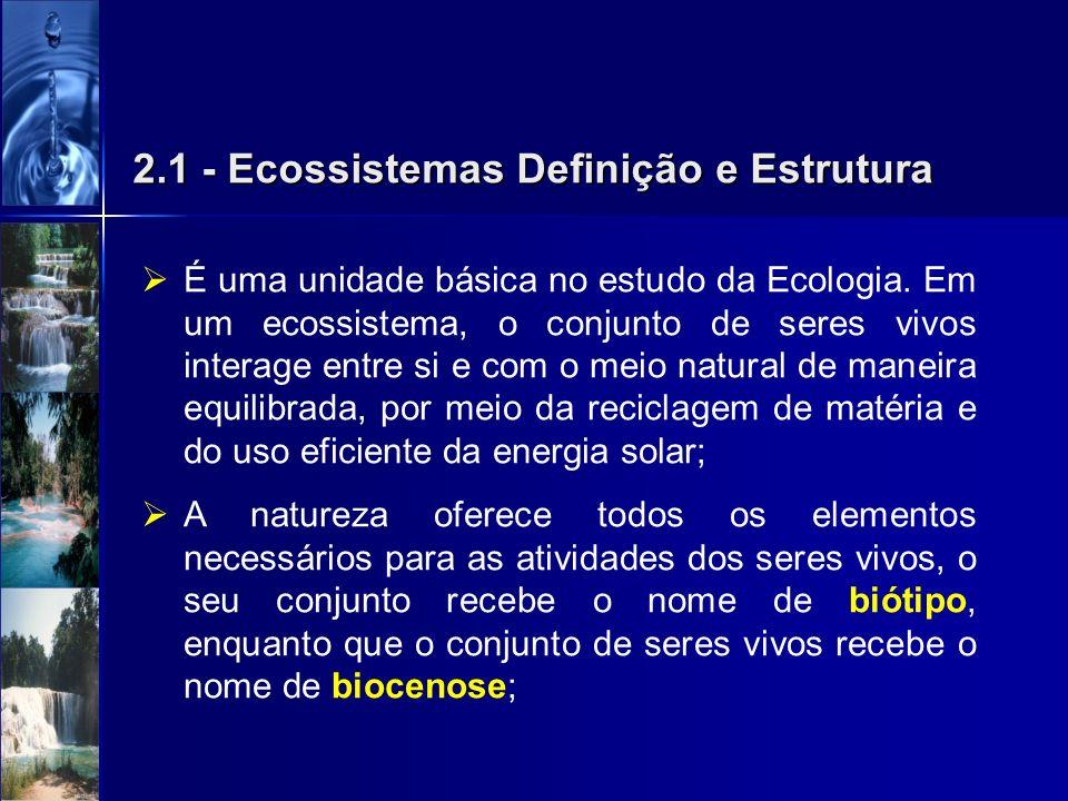 2.1 - Ecossistemas Definição e Estrutura É uma unidade básica no estudo da Ecologia. Em um ecossistema, o conjunto de seres vivos interage entre si e