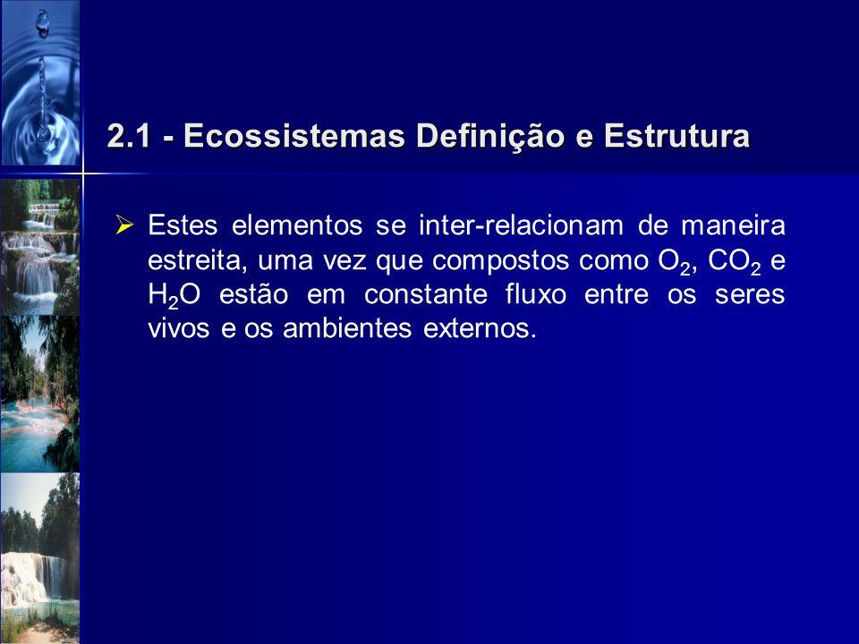 2.1 - Ecossistemas Definição e Estrutura Estes elementos se inter-relacionam de maneira estreita, uma vez que compostos como O 2, CO 2 e H 2 O estão e