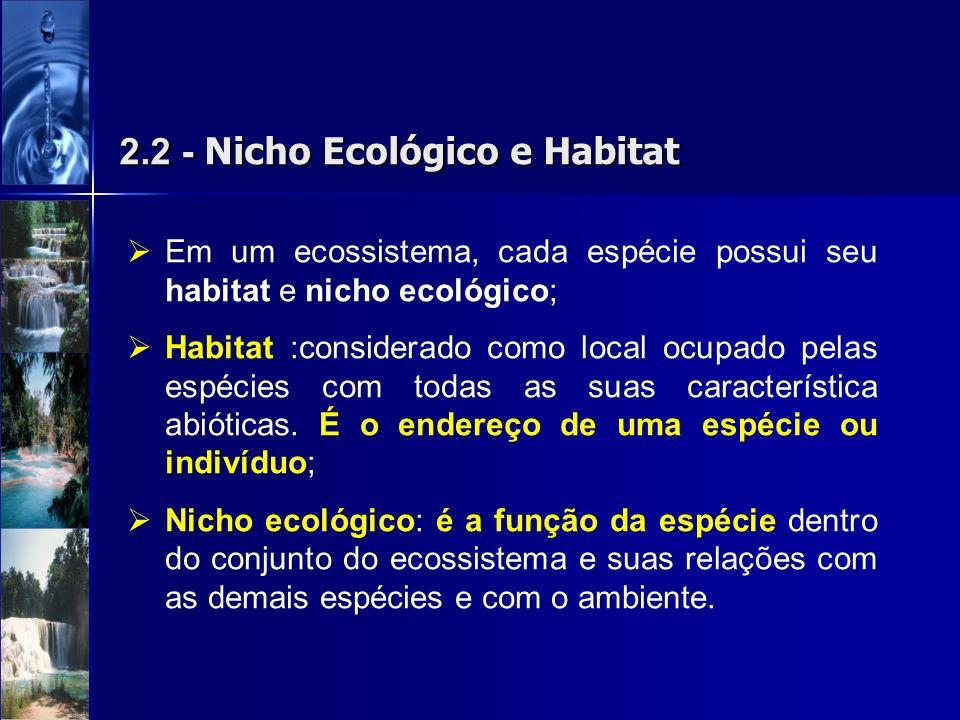 2.2 - Nicho Ecológico e Habitat Em um ecossistema, cada espécie possui seu habitat e nicho ecológico; Habitat :considerado como local ocupado pelas es