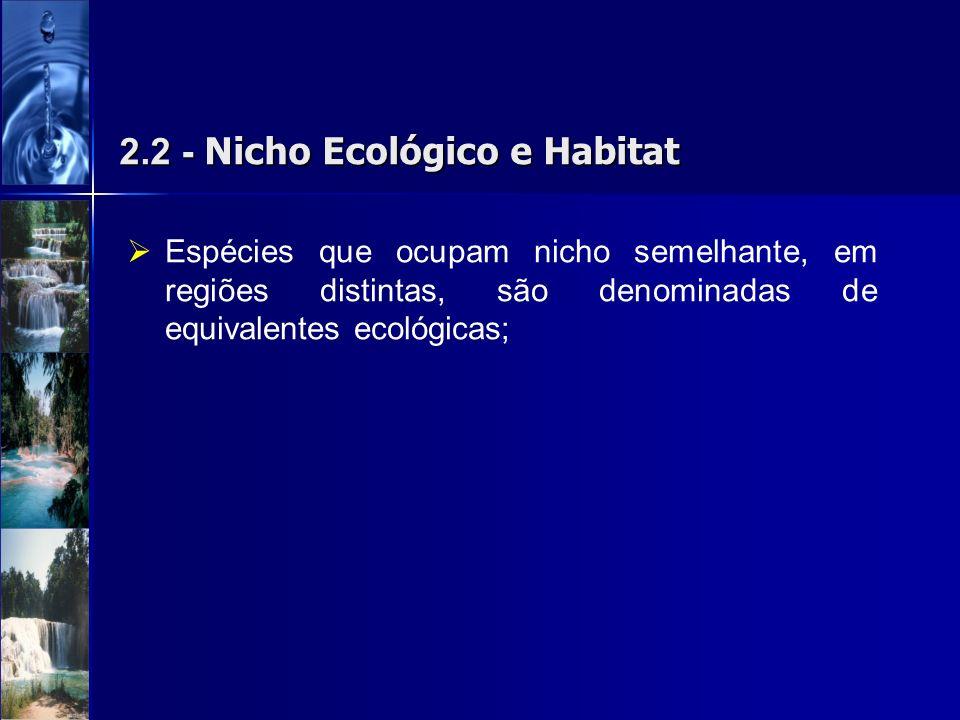 2.2 - Nicho Ecológico e Habitat Espécies que ocupam nicho semelhante, em regiões distintas, são denominadas de equivalentes ecológicas;