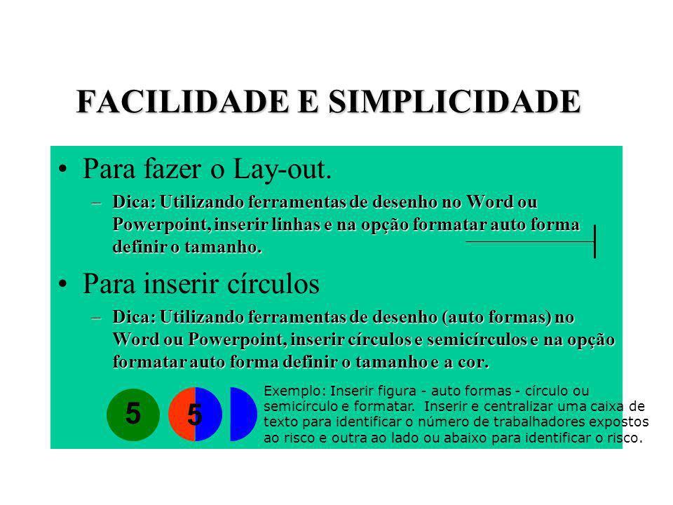 FACILIDADE E SIMPLICIDADE Para fazer o Lay-out. –Dica: Utilizando ferramentas de desenho no Word ou Powerpoint, inserir linhas e na opção formatar aut