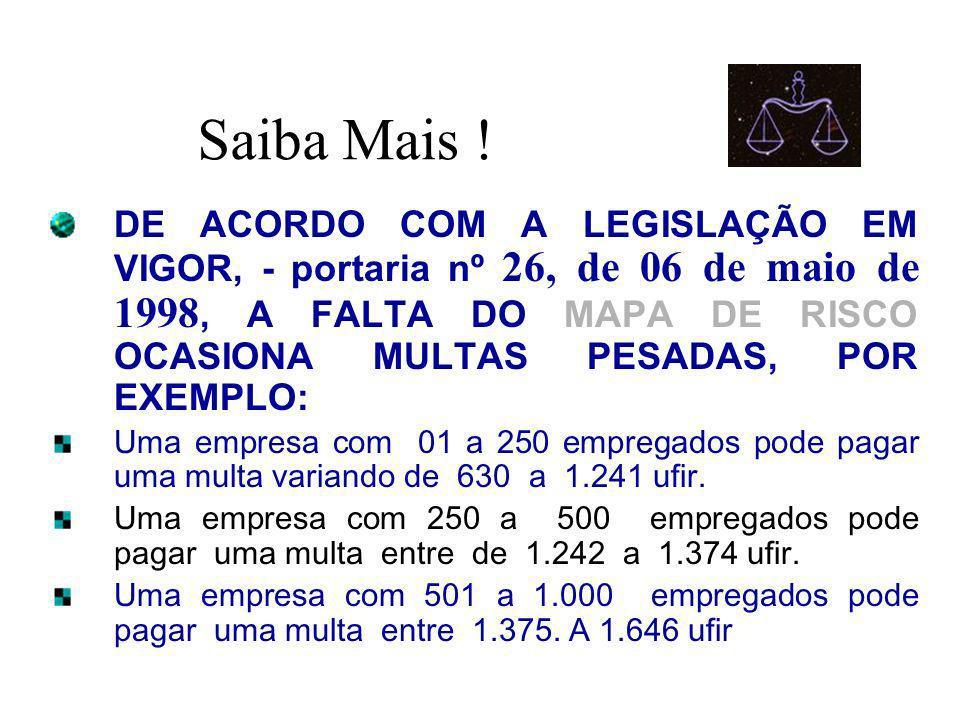 Saiba Mais ! DE ACORDO COM A LEGISLAÇÃO EM VIGOR, - portaria nº 26, de 06 de maio de 1998, A FALTA DO MAPA DE RISCO OCASIONA MULTAS PESADAS, POR EXEMP