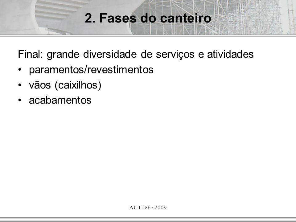 AUT186 - 2009 Final: grande diversidade de serviços e atividades paramentos/revestimentos vãos (caixilhos) acabamentos 2. Fases do canteiro