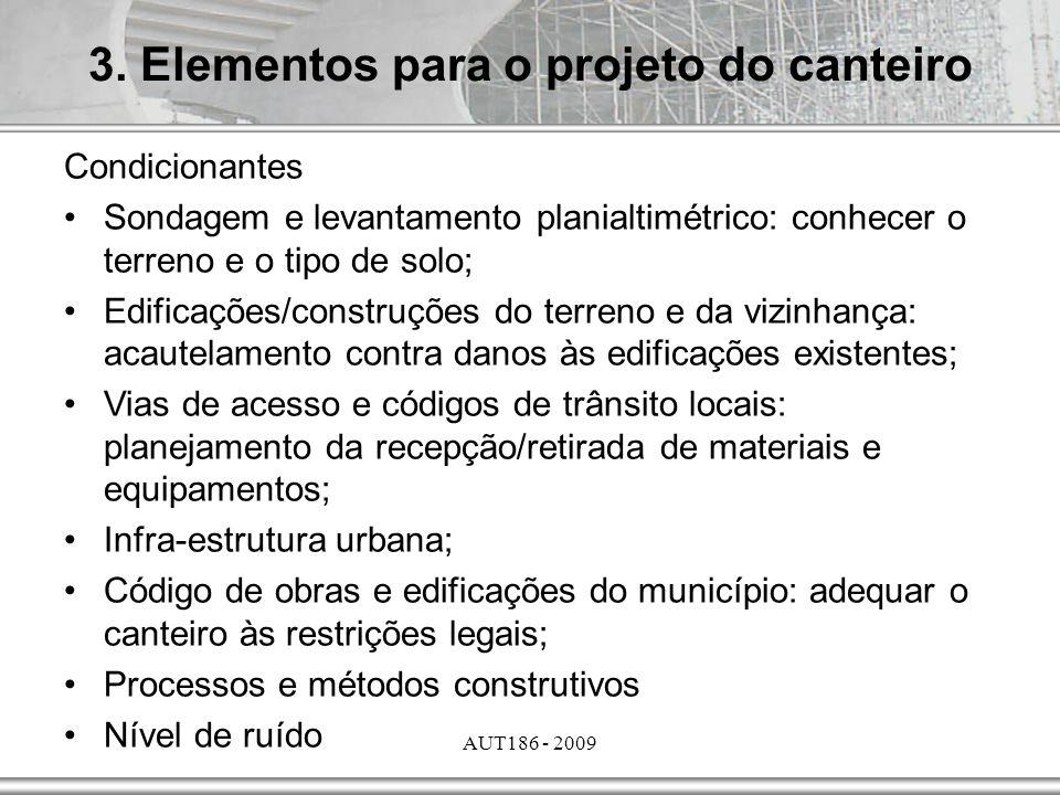 AUT186 - 2009 Condicionantes Sondagem e levantamento planialtimétrico: conhecer o terreno e o tipo de solo; Edificações/construções do terreno e da vi