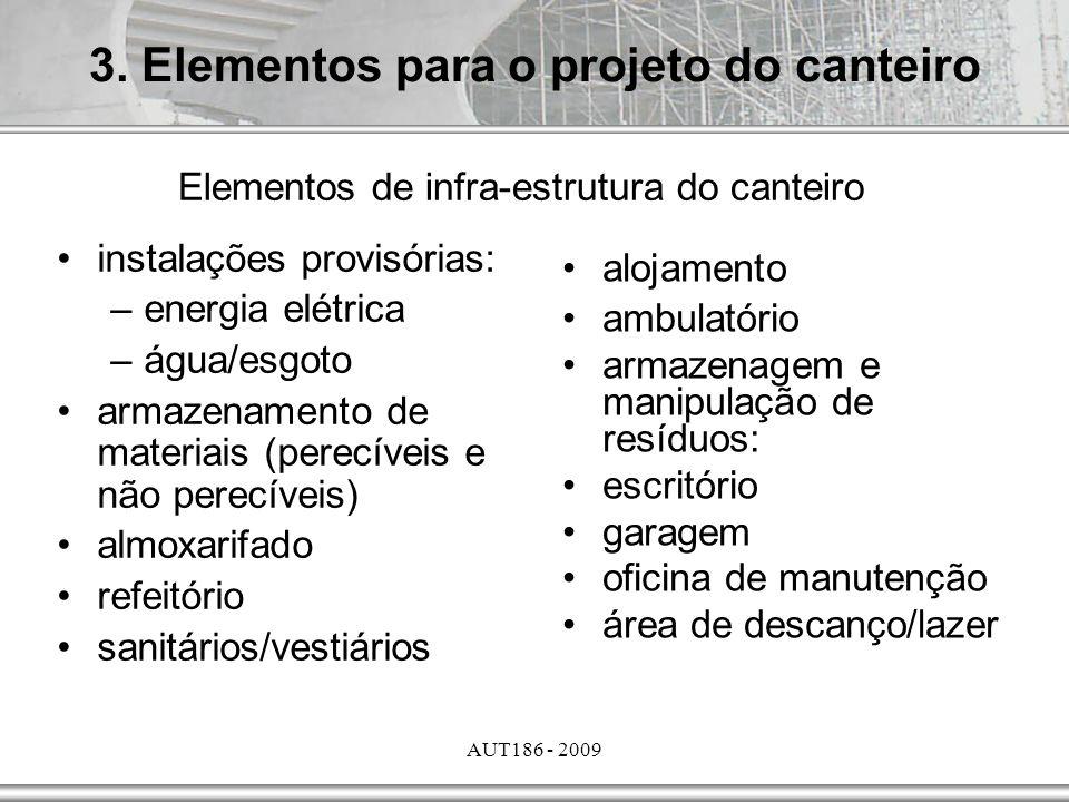AUT186 - 2009 3. Elementos para o projeto do canteiro Elementos de infra-estrutura do canteiro instalações provisórias: –energia elétrica –água/esgoto