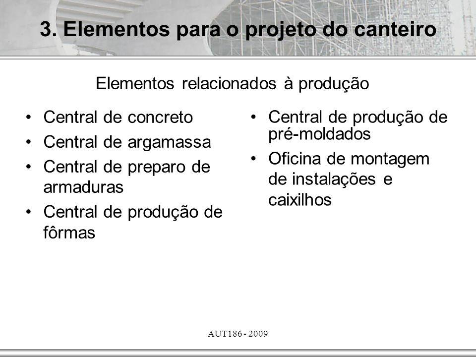 AUT186 - 2009 3. Elementos para o projeto do canteiro Elementos relacionados à produção Central de concreto Central de argamassa Central de preparo de