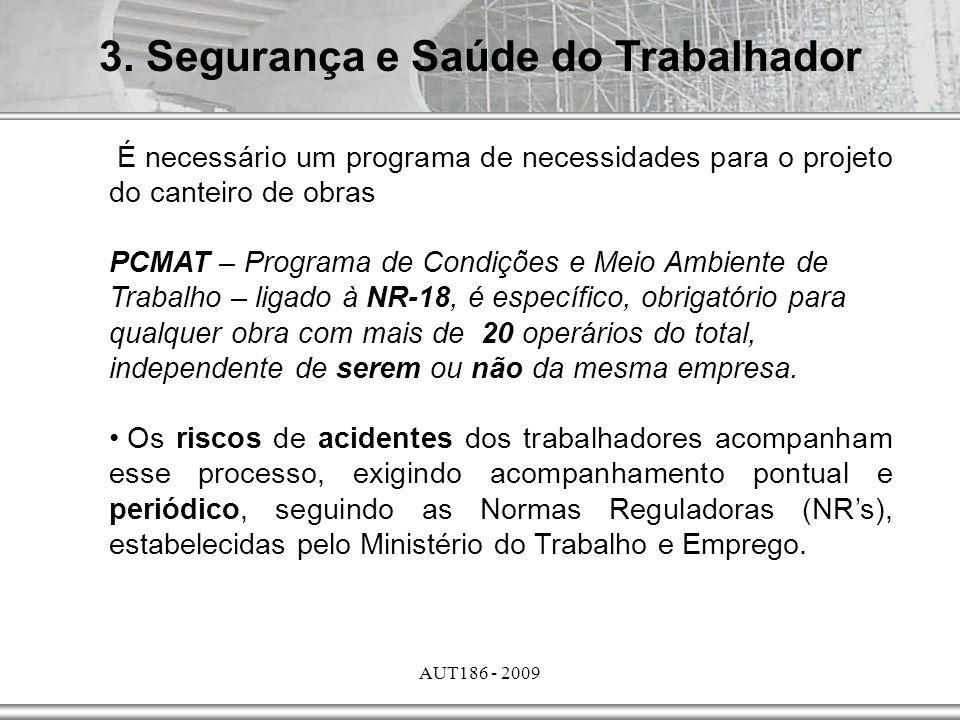 AUT186 - 2009 3. Segurança e Saúde do Trabalhador É necessário um programa de necessidades para o projeto do canteiro de obras PCMAT – Programa de Con