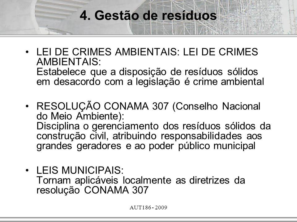 AUT186 - 2009 LEI DE CRIMES AMBIENTAIS: LEI DE CRIMES AMBIENTAIS: Estabelece que a disposição de resíduos sólidos em desacordo com a legislação é crim
