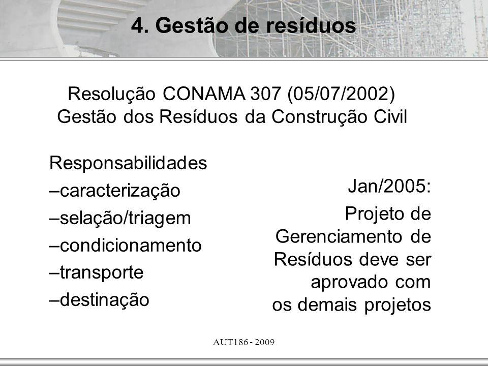 AUT186 - 2009 Jan/2005: Projeto de Gerenciamento de Resíduos deve ser aprovado com os demais projetos Responsabilidades –caracterização –selação/triag