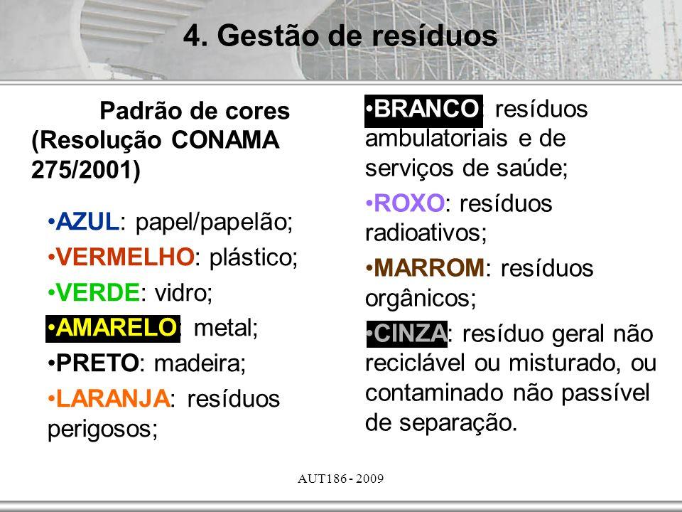 AUT186 - 2009 4. Gestão de resíduos Padrão de cores (Resolução CONAMA 275/2001) BRANCO: resíduos ambulatoriais e de serviços de saúde; ROXO: resíduos