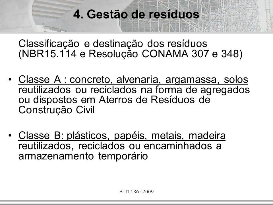 AUT186 - 2009 Classificação e destinação dos resíduos (NBR15.114 e Resolução CONAMA 307 e 348) Classe A : concreto, alvenaria, argamassa, solos reutil
