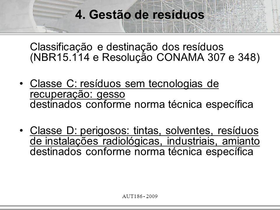 AUT186 - 2009 Classificação e destinação dos resíduos (NBR15.114 e Resolução CONAMA 307 e 348) Classe C: resíduos sem tecnologias de recuperação: gess