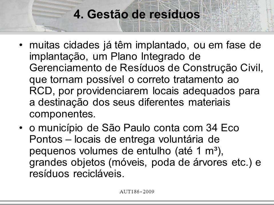 AUT186 - 2009 muitas cidades já têm implantado, ou em fase de implantação, um Plano Integrado de Gerenciamento de Resíduos de Construção Civil, que to
