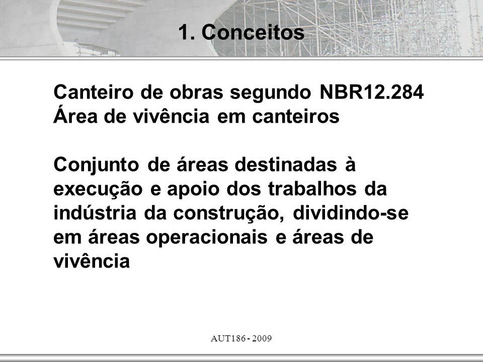 AUT186 - 2009 Canteiro de obras segundo NBR12.284 Área de vivência em canteiros Conjunto de áreas destinadas à execução e apoio dos trabalhos da indús