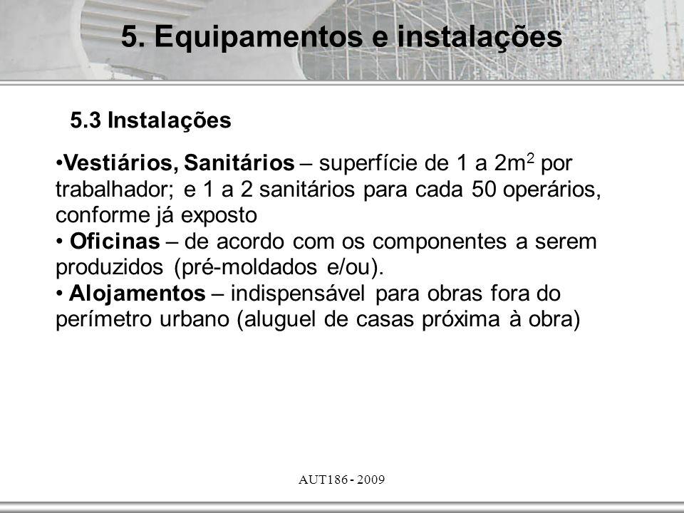 AUT186 - 2009 Vestiários, Sanitários – superfície de 1 a 2m 2 por trabalhador; e 1 a 2 sanitários para cada 50 operários, conforme já exposto Oficinas