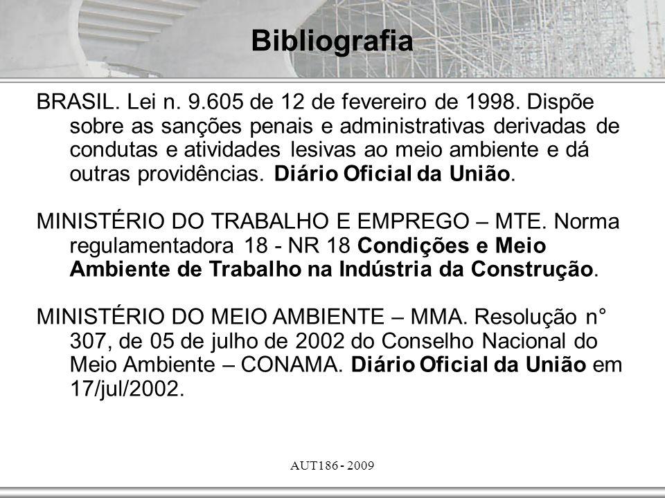 AUT186 - 2009 Bibliografia BRASIL. Lei n. 9.605 de 12 de fevereiro de 1998. Dispõe sobre as sanções penais e administrativas derivadas de condutas e a