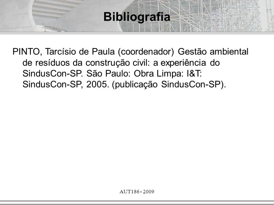 AUT186 - 2009 Bibliografia PINTO, Tarcísio de Paula (coordenador) Gestão ambiental de resíduos da construção civil: a experiência do SindusCon-SP. São