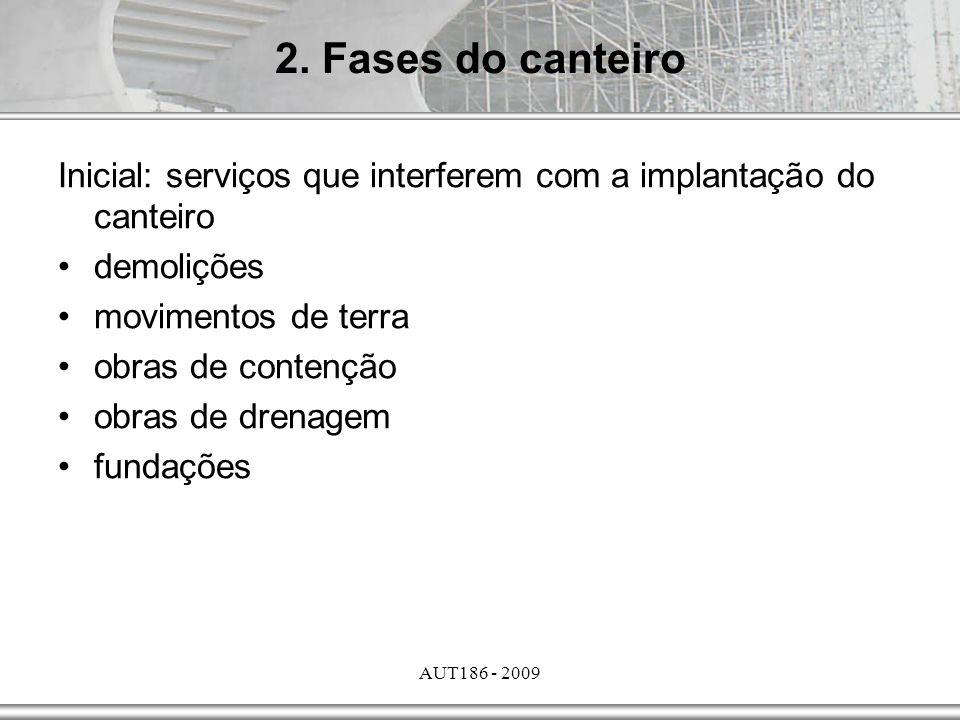 AUT186 - 2009 Inicial: serviços que interferem com a implantação do canteiro demolições movimentos de terra obras de contenção obras de drenagem funda