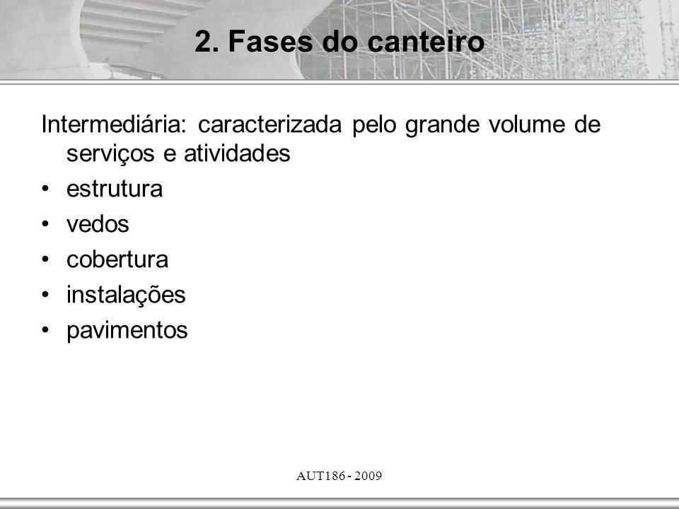 AUT186 - 2009 Intermediária: caracterizada pelo grande volume de serviços e atividades estrutura vedos cobertura instalações pavimentos 2. Fases do ca