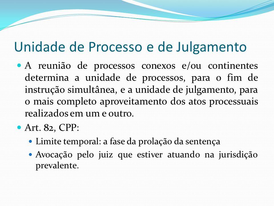 Unidade de Processo e de Julgamento A reunião de processos conexos e/ou continentes determina a unidade de processos, para o fim de instrução simultânea, e a unidade de julgamento, para o mais completo aproveitamento dos atos processuais realizados em um e outro.
