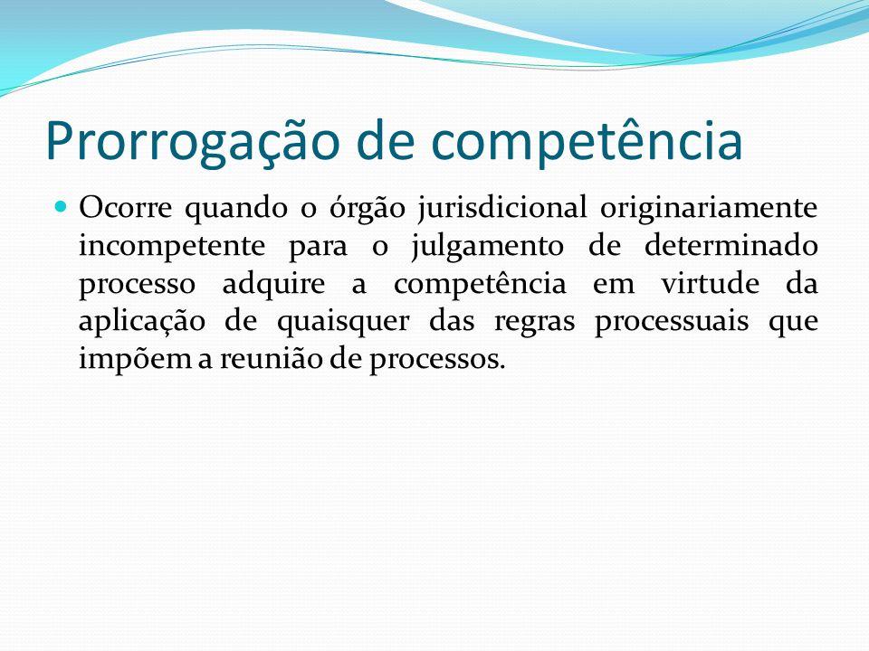 Prorrogação de competência Ocorre quando o órgão jurisdicional originariamente incompetente para o julgamento de determinado processo adquire a competência em virtude da aplicação de quaisquer das regras processuais que impõem a reunião de processos.
