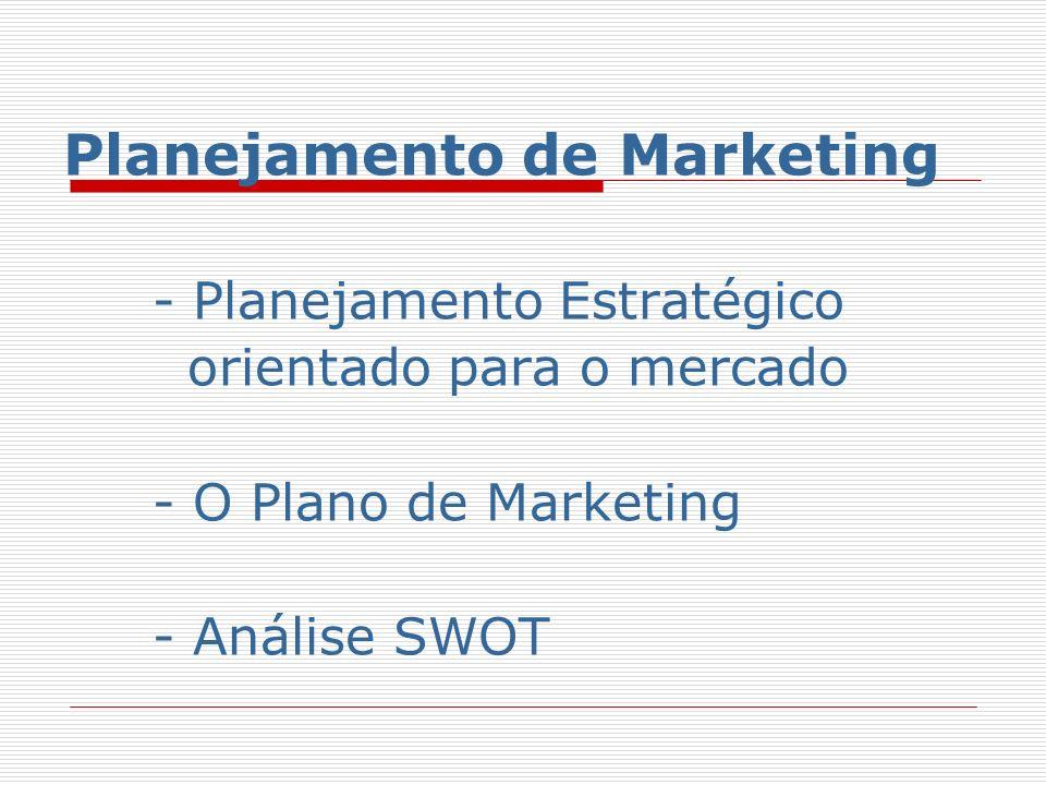 Planejamento de Marketing Todas as estratégias e táticas têm que ser integradas em um plano de marketing que possa ser executado com eficácia pela organização de marketing.