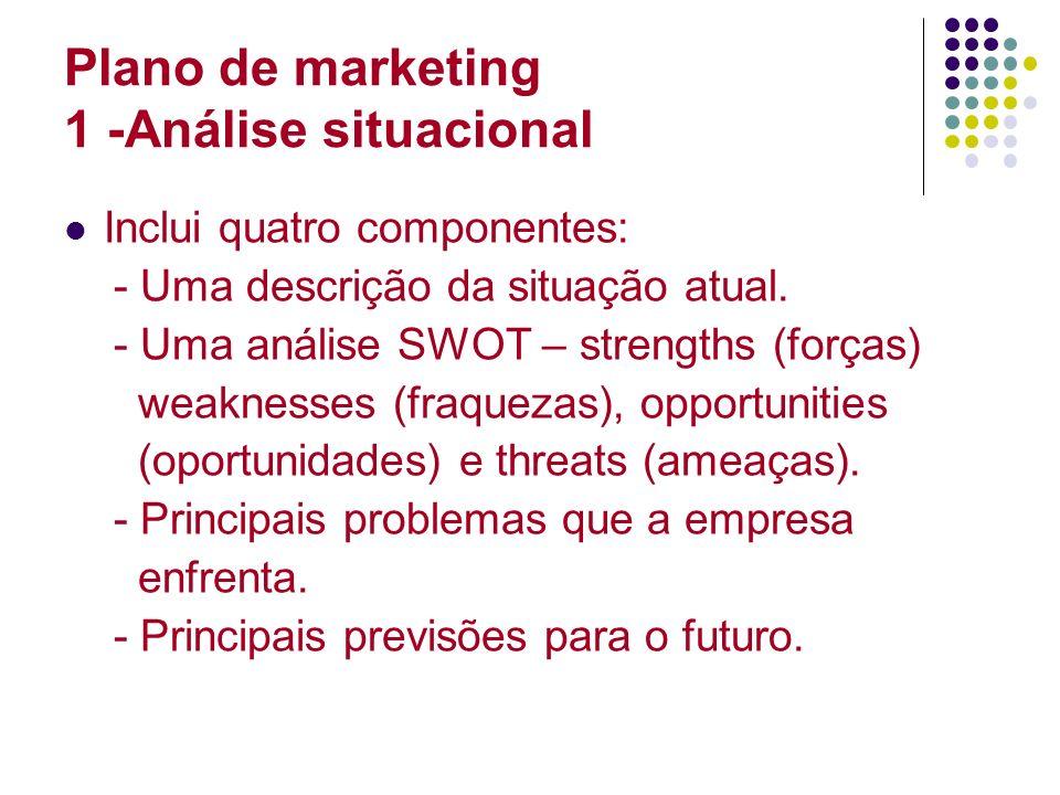 Plano de marketing 1 -Análise situacional Inclui quatro componentes: - Uma descrição da situação atual. - Uma análise SWOT – strengths (forças) weakne