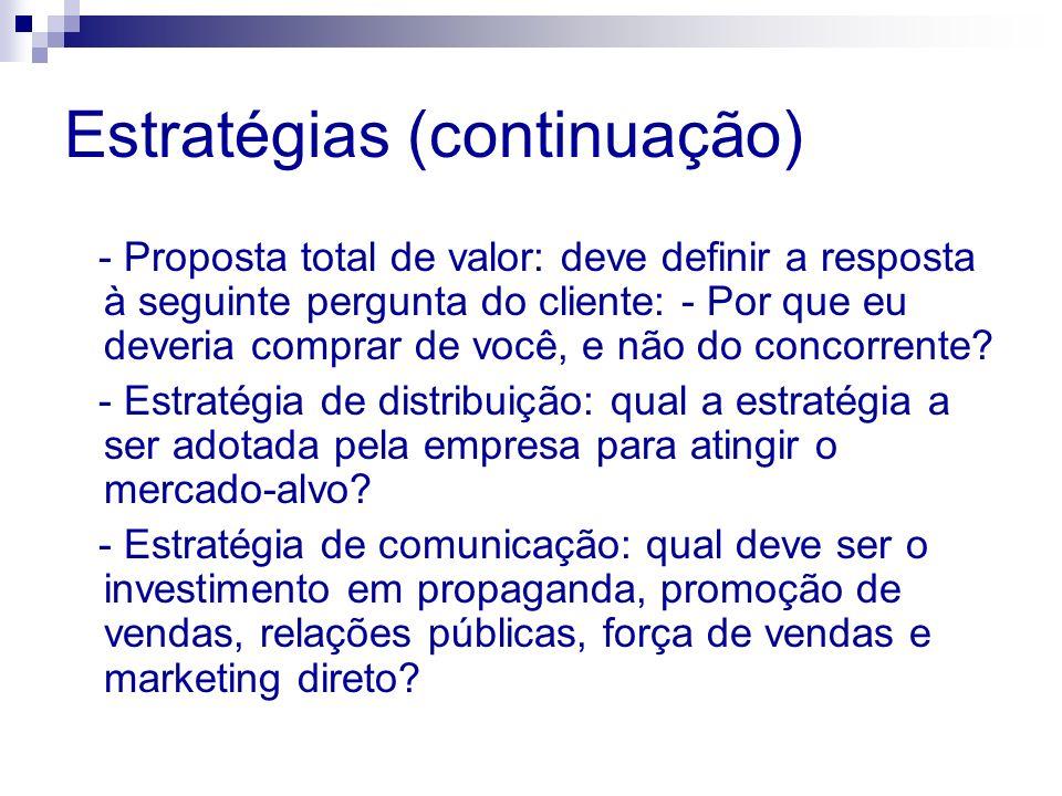 Estratégias (continuação) - Proposta total de valor: deve definir a resposta à seguinte pergunta do cliente: - Por que eu deveria comprar de você, e n