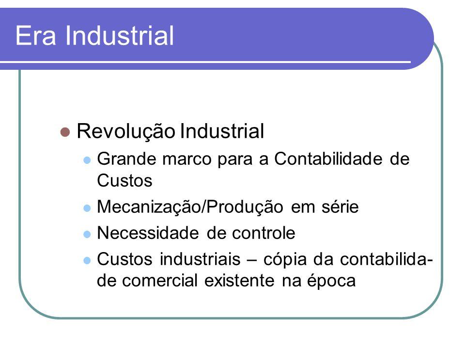 Era Industrial Revolução Industrial Grande marco para a Contabilidade de Custos Mecanização/Produção em série Necessidade de controle Custos industria