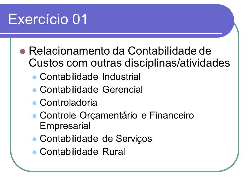 Exercício 01 Relacionamento da Contabilidade de Custos com outras disciplinas/atividades Contabilidade Industrial Contabilidade Gerencial Controladori
