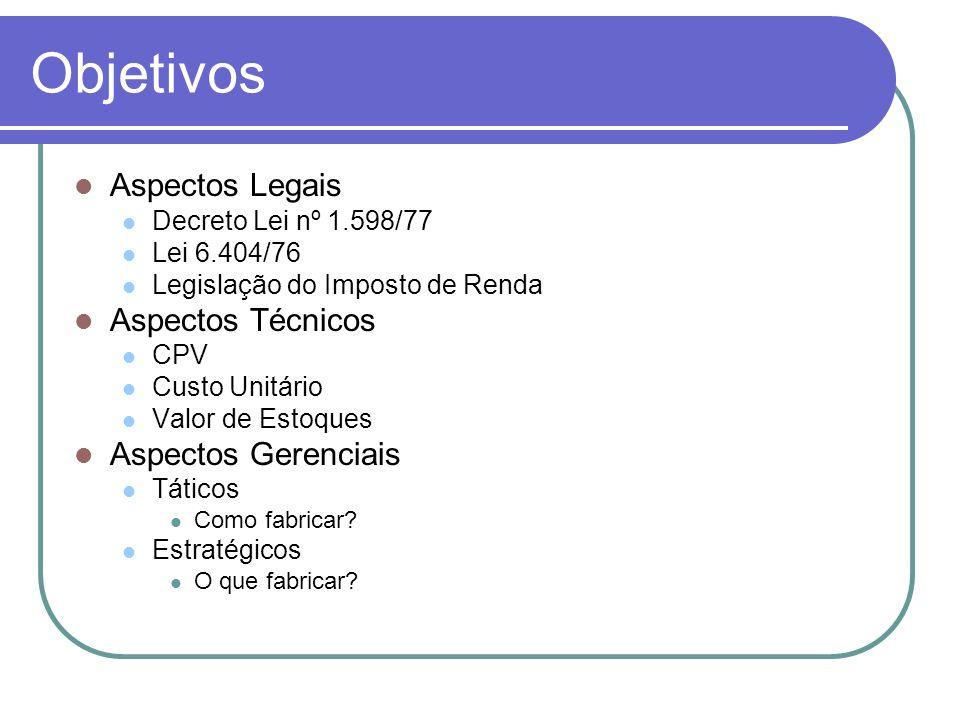 Objetivos Aspectos Legais Decreto Lei nº 1.598/77 Lei 6.404/76 Legislação do Imposto de Renda Aspectos Técnicos CPV Custo Unitário Valor de Estoques A
