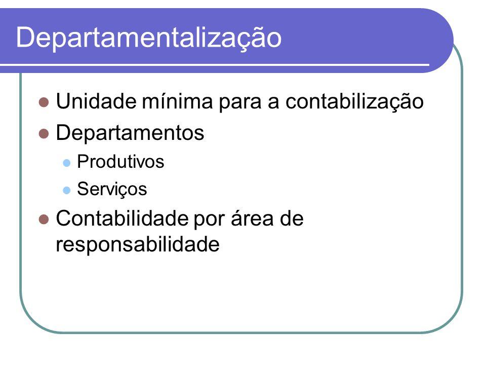 Departamentalização Unidade mínima para a contabilização Departamentos Produtivos Serviços Contabilidade por área de responsabilidade