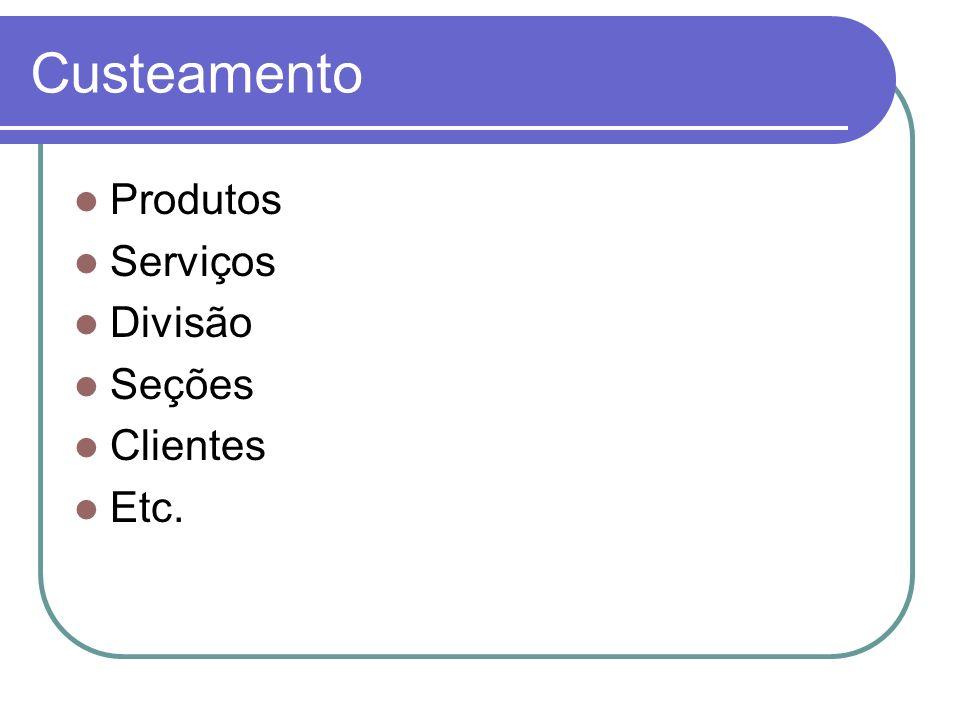 Custeamento Produtos Serviços Divisão Seções Clientes Etc.
